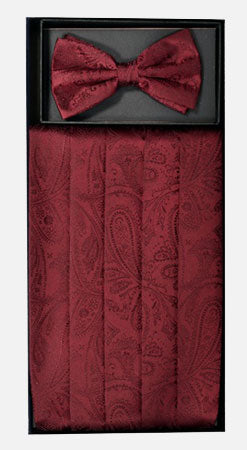 Men's Silk Paisley Burgundy Cummerbund with Bow Tie