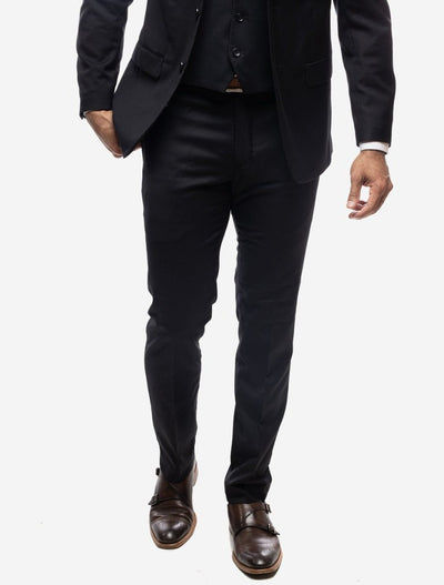 Black Men's Slim-Fit Suit Separates Pants-Front