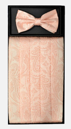 Men's Silk Paisley Peach Cummerbund with Bow Tie