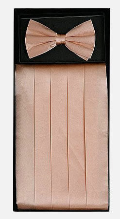 Men's Silk Peach Cummerbund with Bow Tie