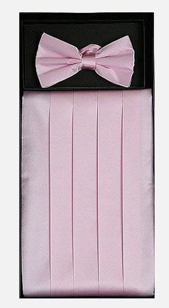 Men's Silk Pink Cummerbund with Bow Tie