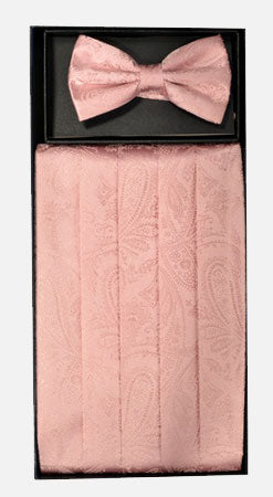 Men's Silk Paisley Pink Cummerbund with Bow Tie