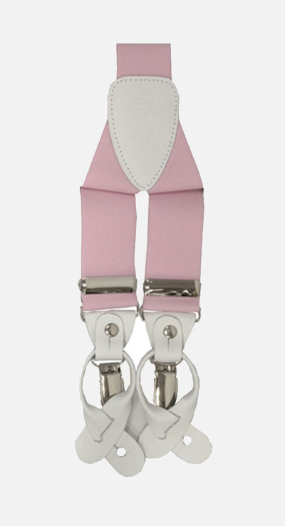 Men's Pink Suspenders | Elastic Button and Clip Convertible