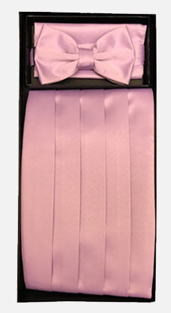 Men's Poly Pink Cummerbund with Bow Tie & Hanky