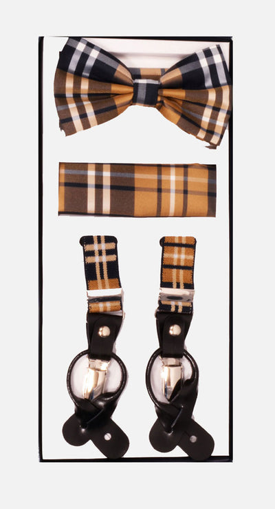 Men's Skinny Plaid Brown 3 Piece Suspenders Set | Elastic Button and Clip Convertible