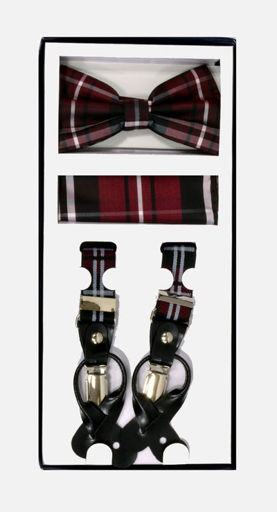 Men's Skinny Plaid Burgundy 3 Piece Suspenders Set | Elastic Button and Clip Convertible