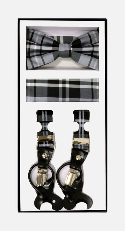 Men's Skinny Plaid Grey 3 Piece Suspenders Set | Elastic Button and Clip Convertible