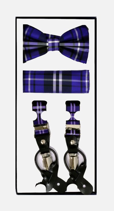 Men's Skinny Plaid Purple 3 Piece Suspenders Set | Elastic Button and Clip Convertible