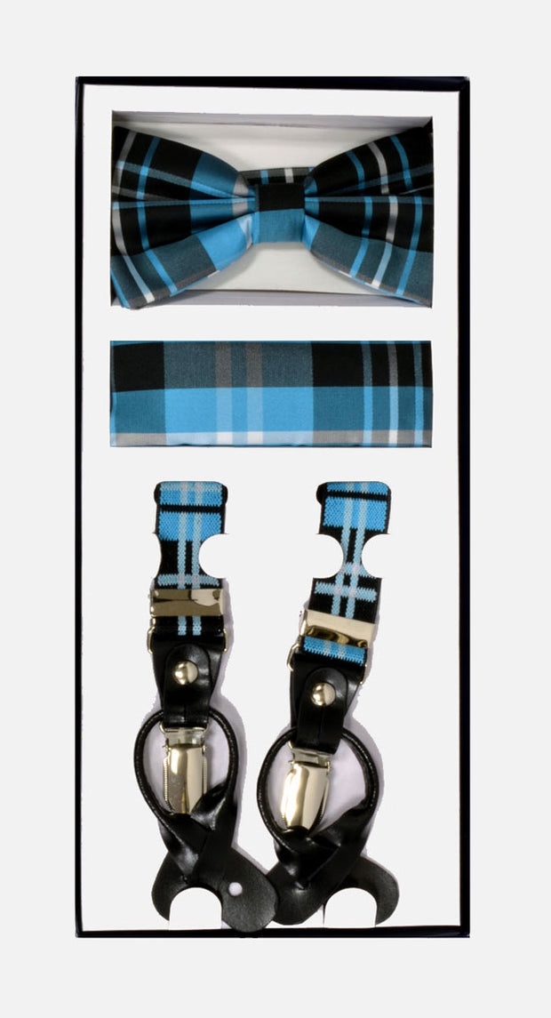 Men's Skinny Plaid Turquoise 3 Piece Suspenders Set | Elastic Button and Clip Convertible