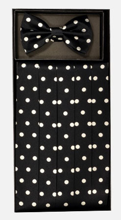Men's Silk Polka Dot  Cummerbund with Bow Tie