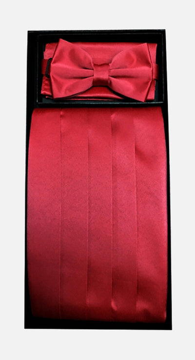Men's Poly Red Cummerbund with Bow Tie & Hanky