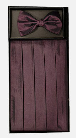 Men's Poly Burgundy Cummerbund with Bow Tie & Hanky