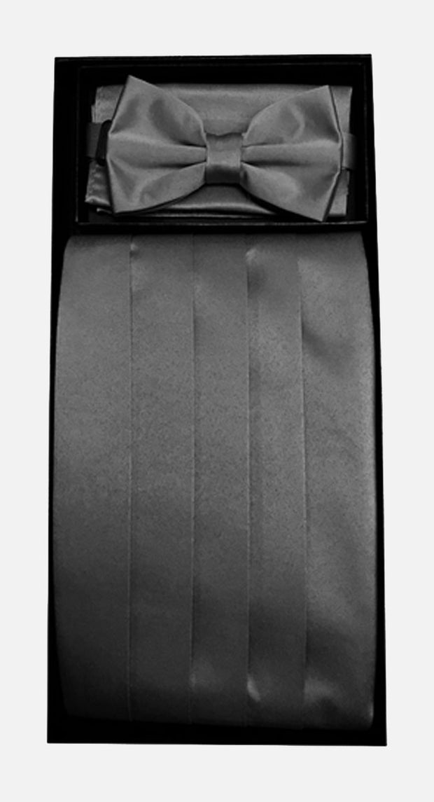 Men's Poly Black Cummerbund with Bow Tie & Hanky