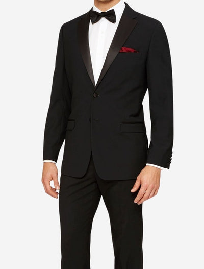 Mens Black 100% Wool Slim Fit Tuxedo