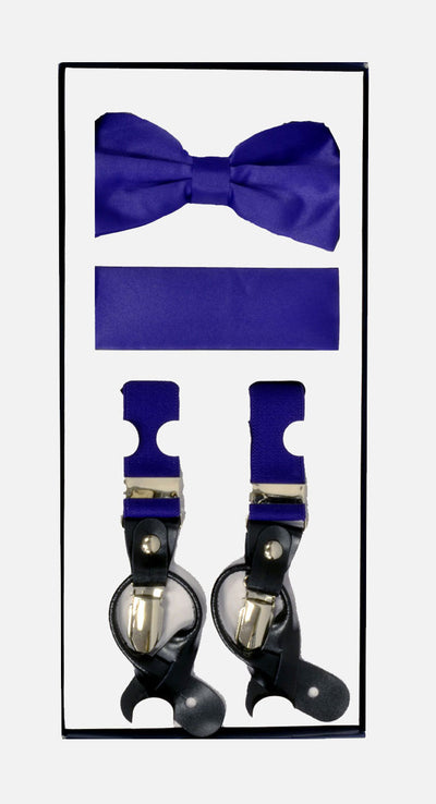 Men's Skinny Purple 3 Piece Suspenders Set | Elastic Button and Clip Convertible