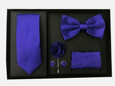 Men's Five Piece Solid Purple Gift Box