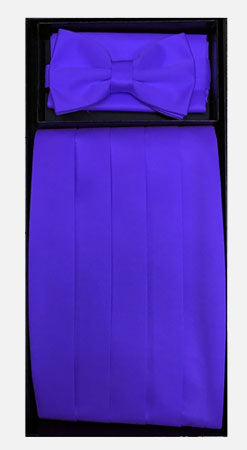 Men's Poly Purple Cummerbund with Bow Tie & Hanky