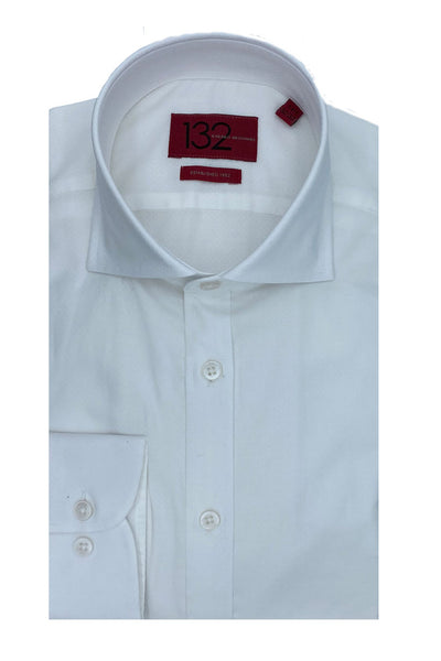 Men's Solid Porcelain White 100% Cotton Tailored Fit Dress Shirt