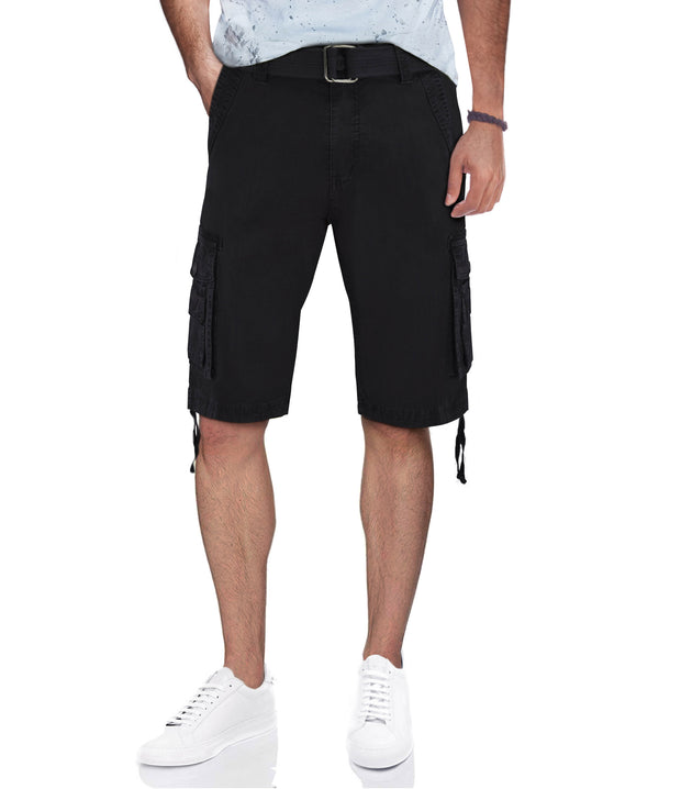 Black Belted Cargo Shorts with Double Pockets