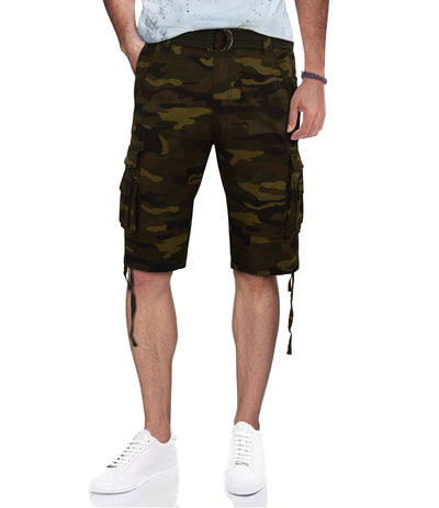 Camouflage Belted Cargo Shorts with Double Pockets