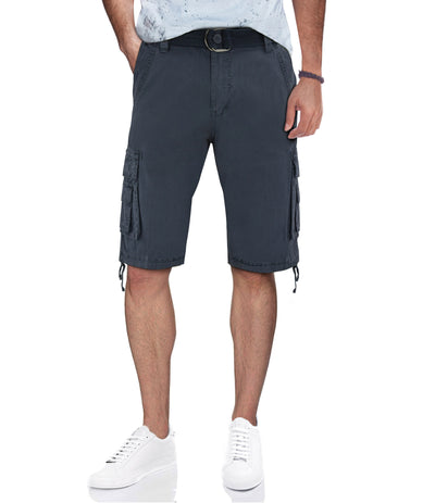 Navy Belted Cargo Shorts with Double Pockets
