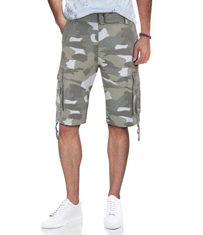 White Camo Belted Cargo Shorts with Double Pockets