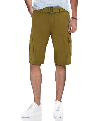 Kaki Casual Classic Fit Cargo Shorts with Belt
