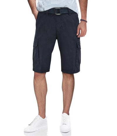 Navy Casual Classic Fit Cargo Shorts with Belt
