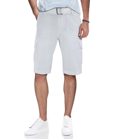 White Casual Classic Fit Cargo Shorts with Belt
