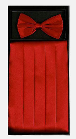 Men's Silk Paisley Red Cummerbund with Bow Tie