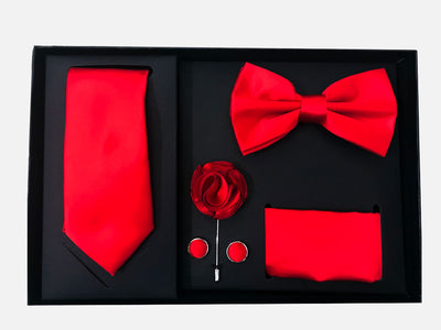 Men's Five Piece Solid Red Gift Box