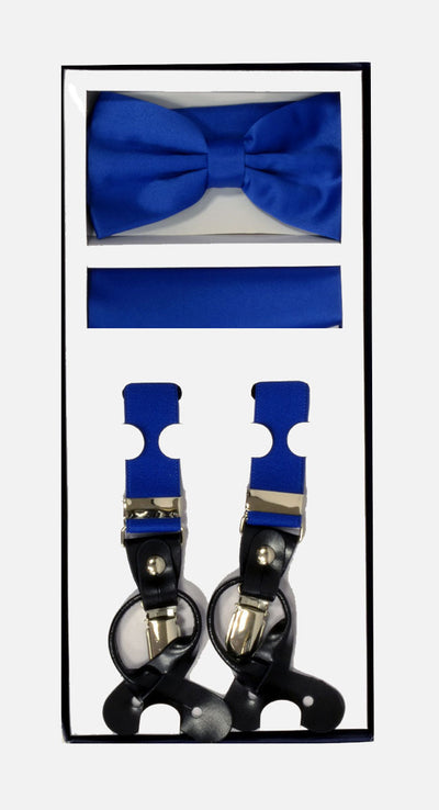 Men's Skinny Royal Blue 3 Piece Suspenders Set | Elastic Button and Clip Convertible