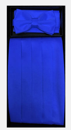 Men's Poly Royal Blue Cummerbund with Bow Tie & Hanky