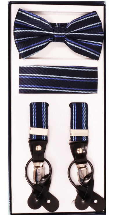 Men's Skinny Pattern Navy 3 Piece Suspenders Set | Elastic Button and Clip Convertible