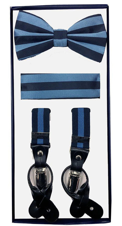 Men's Skinny Blue 3 Piece Suspenders Set | Elastic Button and Clip Convertible