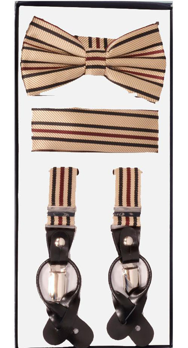 Men's Skinny Beige 3 Piece Suspenders Set | Elastic Button and Clip Convertible
