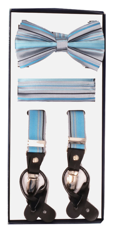 Men's Skinny Grey 3 Piece Suspenders Set | Elastic Button and Clip Convertible