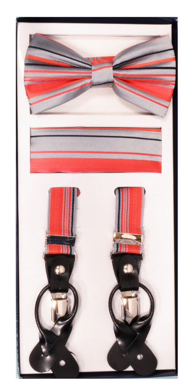 Men's Skinny Peach 3 Piece Suspenders Set | Elastic Button and Clip Convertible
