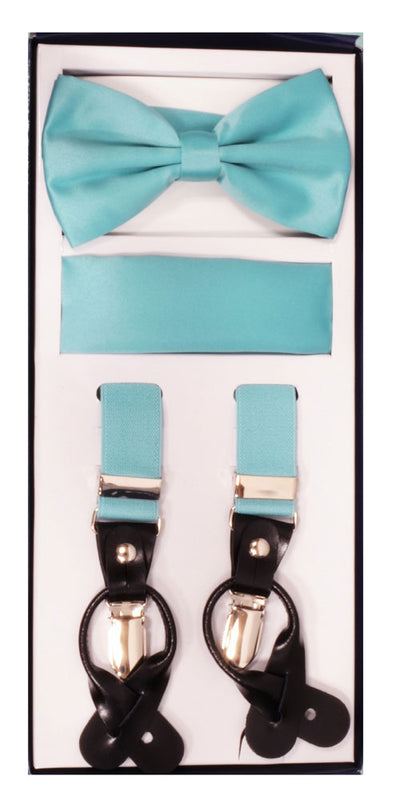 Men's Skinny Aqua 3 Piece Suspenders Set | Elastic Button and Clip Convertible