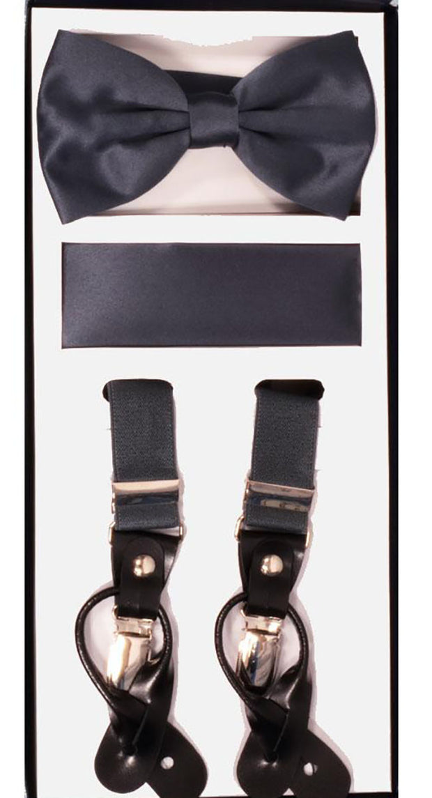 Men's Skinny Charcoal 3 Piece Suspenders Set | Elastic Button and Clip Convertible