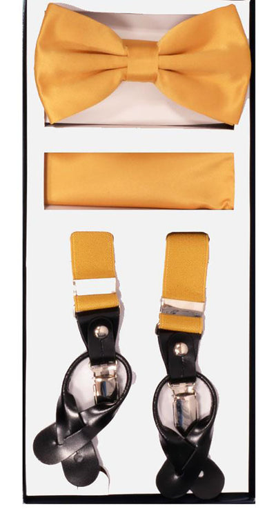 Men's Skinny Gold 3 Piece Suspenders Set | Elastic Button and Clip Convertible
