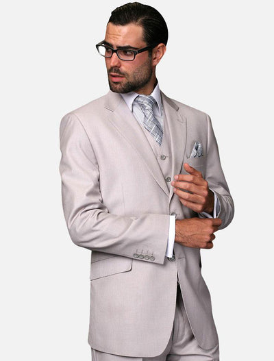 Statement Men's Solid Ash 100% Wool Vested Suit