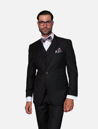 Statement Men's Solid Black 100% Wool Vested Suit