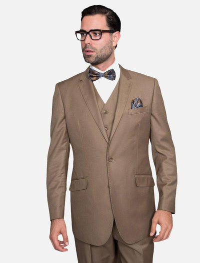 Statement Men's Solid Bronze 100% Wool Vested Suit