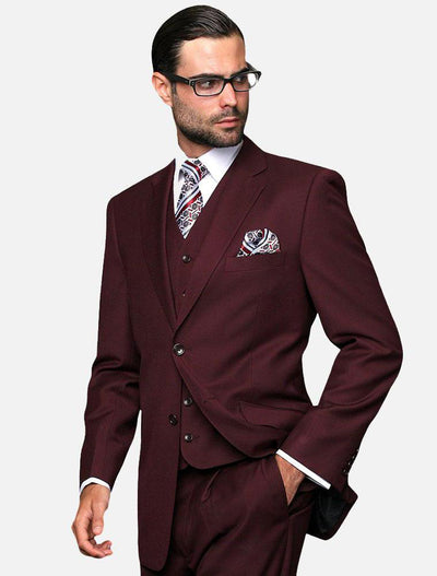 Statement Men's Solid Burgundy 100% Wool Vested Suit-Front