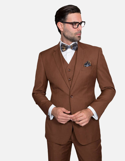 Statement Men's Solid Copper 100% Wool Vested Suit