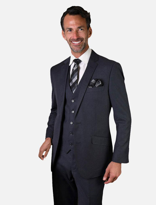 Statement Men's Solid Denim Blue 100% Wool Vested Suit