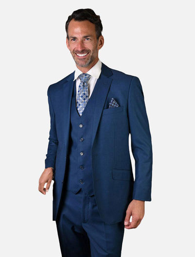 Statement Men's Solid French Blue 100% Wool Vested Suit