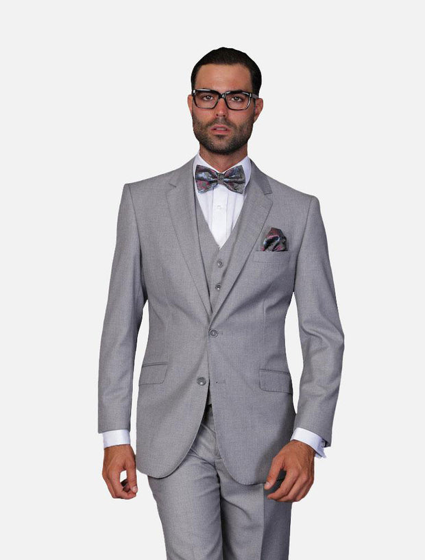 Statement Men's Solid Grey 100% Wool Vested Suit
