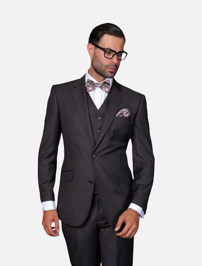 Statement Men's Solid Heather Charcoal 100% Wool Vested Suit